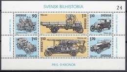 SCHWEDEN Block 8, Postfrisch **, Geschichte Des Schwedischen Automobils, 1980 - Blocks & Kleinbögen