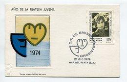 AÑO DE LA FILATELIA JUVENIAL 1974 ARGENTINA TARJETA / CARD OBLITERATED FDC - LILHU - Enfance & Jeunesse