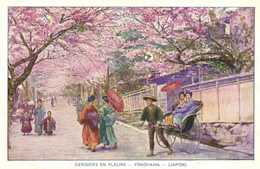 Illustrateur CERISIERS EN FLEURS  YOKOHAMA  (Japon) RV  Pub La Creme Malaceinne  Vignette - Yokohama