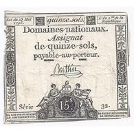 ASSIGNAT DE 15 SOLS - SERIE 32 - 23/05/1793 - TB+ - Assignats & Mandats Territoriaux