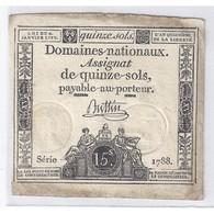 ASSIGNAT DE 15 SOLS - SERIE 1788 - 04/01/1792 - TB/TTB - Assignats