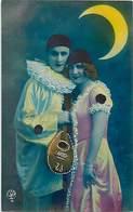 Themes Div-ref Z971- Couples - Couple - Pierrot Et Colombine Au Clair De Lune  - Carte Bon Etat  - - Couples