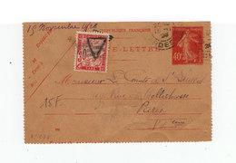 .Carte Lettre Entier Postal Marianne 40 C. CAD 1926. Date 626. Timbre Taxe 30 C Surcharge Triangle. (1080x) - Entiers Postaux