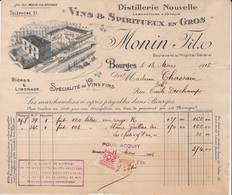 18 BOURGES FACTURE 1918 Distillerie Nouvelle  Spiritueux MONIN   X28 CHER - 1900 – 1949