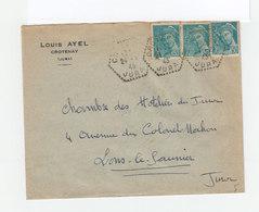 Sur Enveloppe 3 Type Mercure 50 C. Turquoise. CAD Hexagonal Perlé Crotenay Jura 1943. (1081x) - Marcophilie (Lettres)