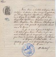 VP14.562 - Ville De HYERES 1881 - Certificat De Vie - Mr Fleury Raphaêl Apollinaire SUZANNE - Vieux Papiers