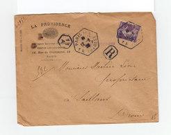 Sur Enveloppe La Providence Paris En R Type Marianne 35 C. Violet CAD Hexagonal Paris 11 A 1 R. Thérèse. (1083x) - Marcophilie (Lettres)