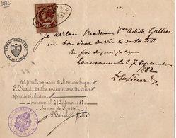 VP14.563 - SUISSE - Municipalité De LAUSANNE 1882 - Certificat De Vie - Mme Veuve Achille GALLIEN - Vieux Papiers