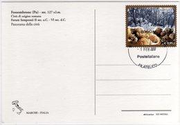 Marcofilia Fossombrone Cartolina Con Nuovo Annullo Permanente Filatelico - Filatelia & Monete
