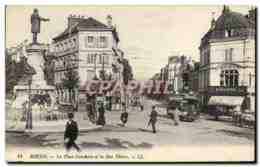 CPA Tramway Train Rouen La Place Cauchoise Et La Rue Thiers Imprimerie Huguerre - Tramways