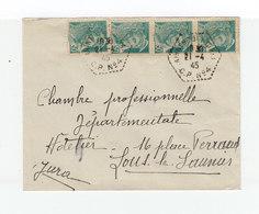 Sur Enveloppe 4 Type Mercure 50 C. Vert CAD Hexagonal Perlé Arinthod Jura CP N°4. Avril 1945. (1084x) - Marcophilie (Lettres)