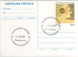 Marcofilia Massa Cartolina Con Nuovo Annullo Permanente Giorno Di Emissione - Filatelia & Monete