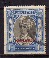 INDIA INDE JAIPUR STATE 1932 SERVICE SERVIZIO Maharaja Man Singh II RED OVERPRINTED 1a USATO USED OBLITERE' - Jaipur