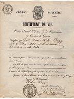 VP14.564 - SUISSE - GENEVE 1882 - Certificat De Vie - Mlle Marie Hélène DAZY Née à AMBERIEUX - Vieux Papiers