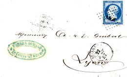 FRANCE. N°14A Sur Lettre De 1857. De Saint-Louis à Destination De Lyon. - 1853-1860 Napoleon III