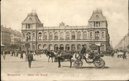 Bruxelles : La Gare Du Nord / Calèche En Gros-plan - Spoorwegen, Stations