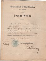 VP14.565 - STRASBOURG 1882 - Certificat De Vie - Mr OBERLE - KISTNER Né à SCHILTIGHEIM - Vieux Papiers
