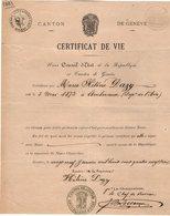 VP14.566 - SUISSE - GENEVE 1882 - Certificat De Vie - Mlle Marie Hélène DAZY Née à AMBERIEUX - Vieux Papiers