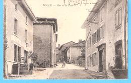 """Poule-les-Echarmeaux (Thizy-Tarare-Rhône)-1904-Rue De La Poste-Café Minot-Cachets """"Poule-Rhône"""" Et """"Belmont De La Loire"""" - Tarare"""