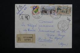 ALGÉRIE - Env. En Recommandé De Tefeschoun Pour La Croix Rouge à Birkadem En 1962 , Affr. Timbres Français - L 22891 - Algérie (1924-1962)