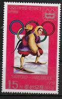 COREE DU NORD   N° 1441D  * *     Jo 1976  Ski  Tir A L Arc    Chasse - Tir à L'Arc