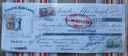 75 PARIS 4e Societe ALFA LAVAL Timbres Fiscaux,tampons Pour 51 Somsois - Agriculture