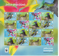 2014 British Virgin Islands WWF Hummingbirds Oiseaux  Miniature Sheet Of 4 Sets Of 4 MNH @  Face Value - W.W.F.