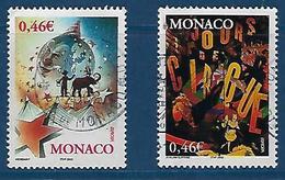 """Monaco YT 2347 & 2348 """" Europa, Le Cirque """" 2002 Oblitéré - Monaco"""
