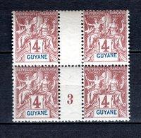 GUYANE N° 32 BLOC DE QUATRE MILLESIME 3  NEUF SANS CHARNIERE COTE  68.80€   TYPE GROUPE - Neufs