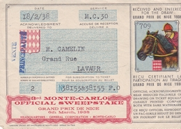 06 NICE Grand Prix De Nice Sweepstake De MONTE-CARLO 1938 : Rare - Mónaco