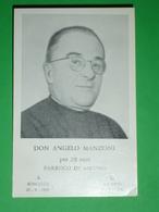 Anno 1965 Don ANGELO MANZONI Somasca - Parroco Di AIRUNO,Lecco /santino Da Foto /funebre O A Ricordo - Santini