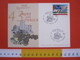 A.08 ITALIA ANNULLO - 2002 MELFI POTENZA 43 SAGRA DELLA VAROLA CASTAGNA CASTELLO CASTLE FEDERICO II IMPERATORE - Frutta