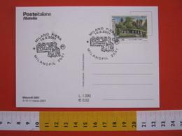 A.08 ITALIA ANNULLO - 2001 MILANO FIERA MILANOFIL MOSTRA ESPOSIZIONE FILATELICA CARD ABITO FRANCOBOLLO - Esposizioni Filateliche