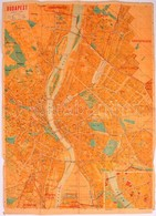 Budapest Térképe, Méretarány: 1: 25 000, Kiadja: Közlekedési Nyomda Kft., Hátoldalon Utcanévjegyzékkel, 70×50 Cm - Cartes