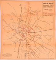 1957 Budapest Közlekedési Térképe, Kiadja: Fővárosi Villamosvasút Sajtó és Balesetelhárítási Csoportja, 40×36 Cm - Cartes