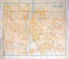 1930 Budapest Székesfőváros és Környékének Térképe, Kiadja: M. Kir. állami Térképészet, Szakadt, 92×84 Cm - Cartes
