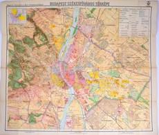 1927 Budapest Székesfőváros Térképe, Kiadja: M. Kir. állami Térképészet, Szakadással, 93×84 Cm - Cartes