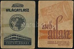 Fenyves Világatlasz. Bp.,(1934), Fenyves Áruház, 31 P. Papírkötésben, Szakadt, Ragasztott Borítóval. + GKI Zsebatlasz. B - Cartes