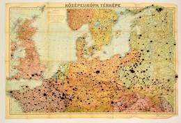 Cca 1910 Középeurópa Térképe, 1:2.750,000. Bp., Magyar Földrajzi Intézet Rt., A Hajtások Mentén Kis Szakadásokkal, Katon - Cartes