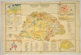 1928 Fodor Ferenc Magyarország Gazdaságföldrajzi Térképe / Economic-geographical Map Of Hungary, 1:1500000, Magyar Földr - Cartes