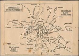 1949 Nagybudapest Autóbuszhálózata, Térkép, Menetrenddel, Szakadással, 29×21 Cm - Cartes