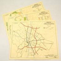 1946 Budapest Városfejlesztési Rogramja 3 Db Térkép. Közúthálózat, Fürdőhelyek Térképe, Építési övezetek Térképe. 52x41  - Cartes