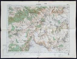 1936 Veszprém és Környékének Térképe, Kiadja: M. Kir. Honvéd Térképészeti Intézet, Hajtott, Szakadással, 47×63 Cm - Cartes