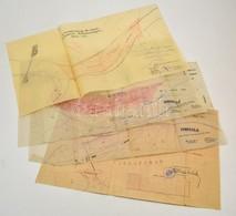 1906-1932 A Tisza-örvényi 67. Sz. átmetszés 3 Db Térképe, Valamint Tiszafüredi Folyószakasz Térképe (Szartos-Darvastiszá - Cartes