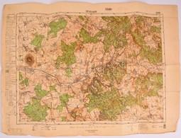 1942 Devecser és Környékének Katonai Térképe, Kiadja: M. Kir. Honvéd Térképészeti Intézet, Hajtott, Szakadással, 47×63 C - Cartes