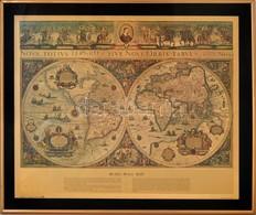 William Janszon Bleau Féle Világ Térkép (Bleau Wall Map), Reprint, üvegezett Keretben, 43×53 Cm - Cartes