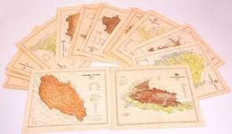 Cca 1900 20 Db Vármegye Térkép Tervezte: Gönczi Pál 30x26 Cm. Jó állapotban - Cartes