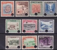 Niue,1967, 87/96, Freimarken: Einheimische Bilder Mit Neuem Wertaufdruck,  MNH ** - Niue