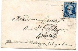 Paris - Env Sans Corresp Affr N° 14A Obl Losange M Romain C 1521 (au Dos Cachet Cire Corps Législatif) - Postmark Collection (Covers)