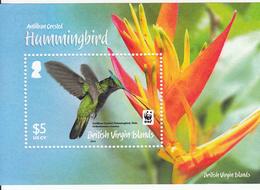 2014 British Virgin Islands WWF Hummingbirds Oiseaux Souvenir Sheet MNH @ Face Value - W.W.F.